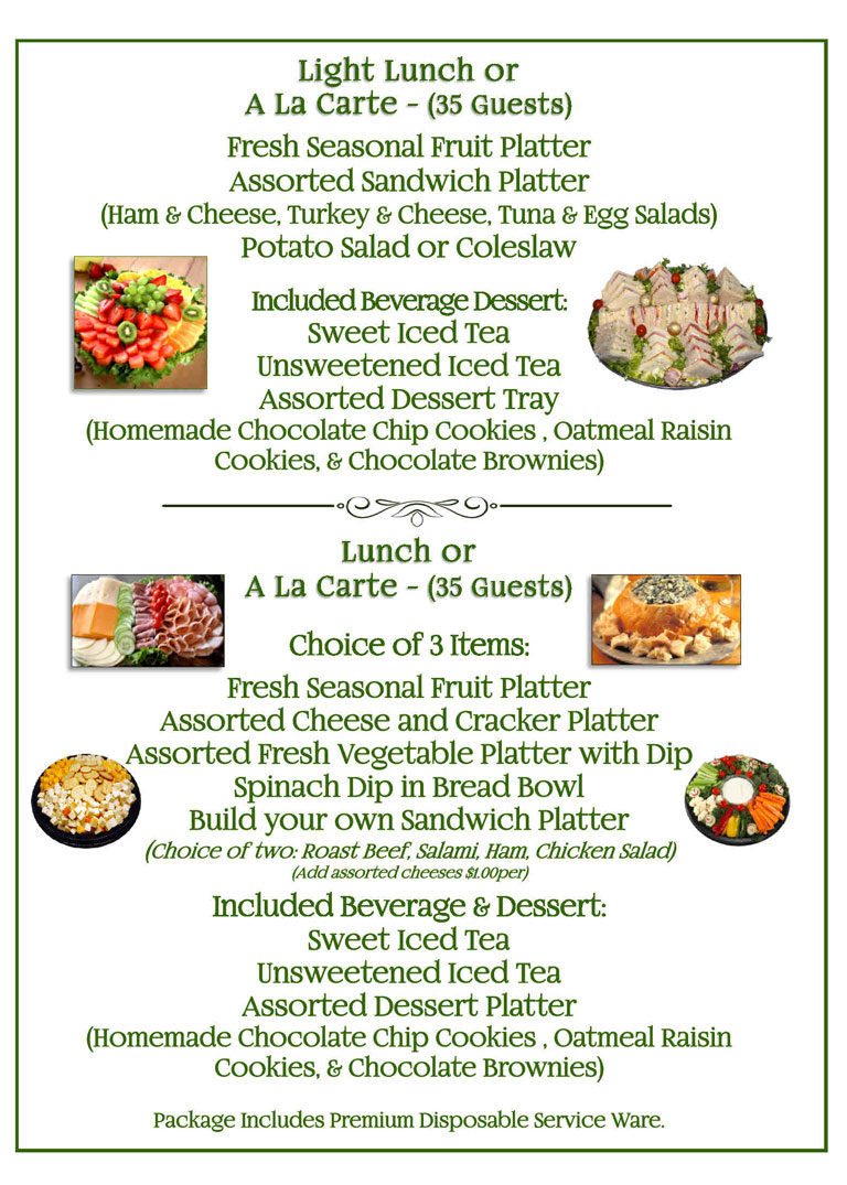 Light Lunch Catering Menu