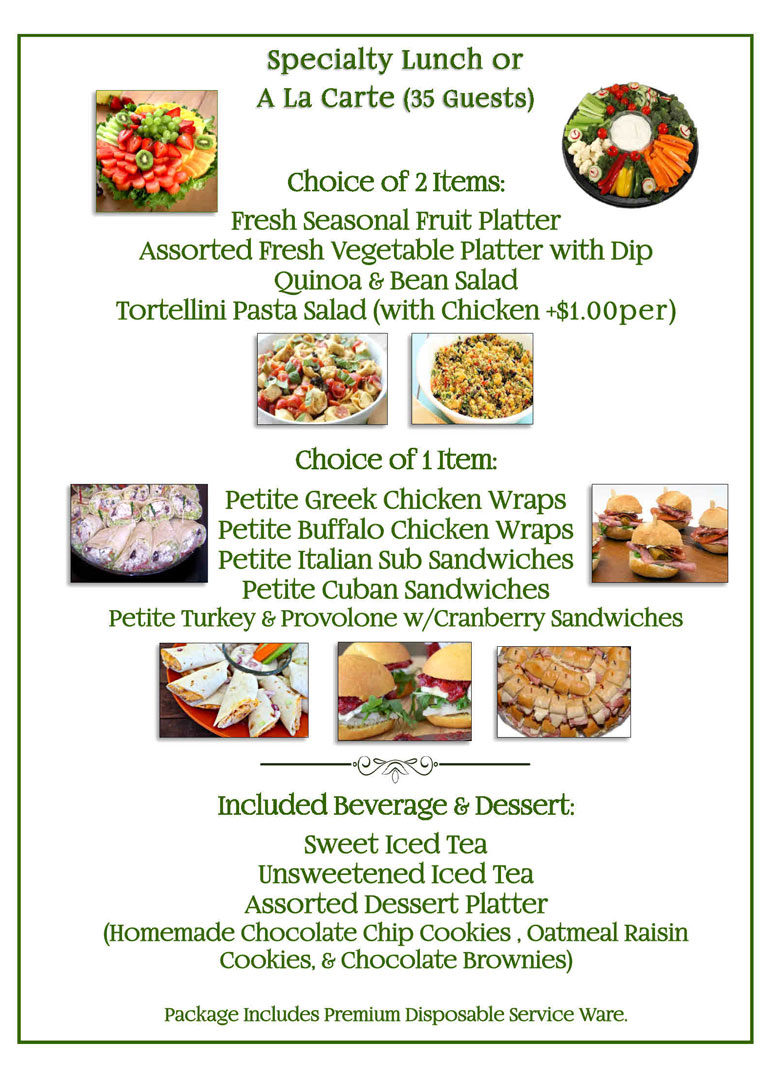 Specialty Lunch Catering Menu