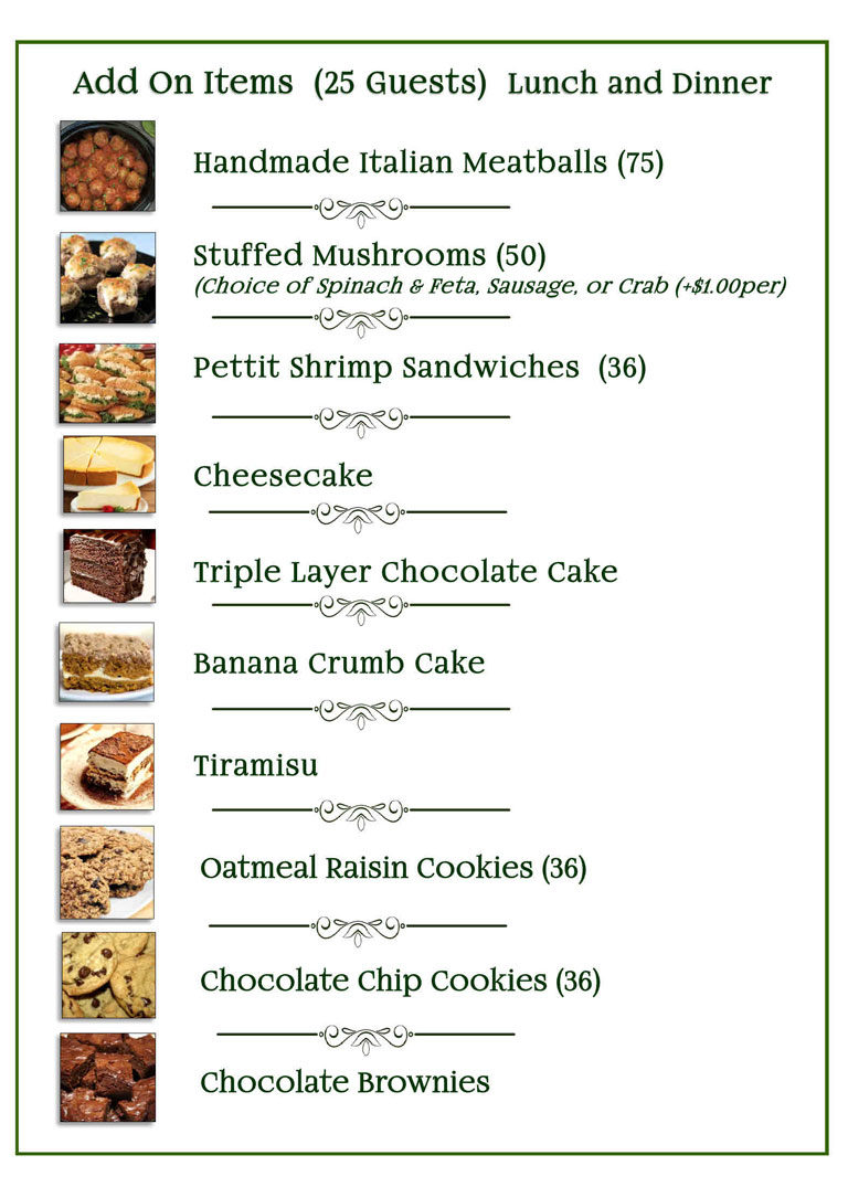 Lunch & Dinner Add-on Catering Menu